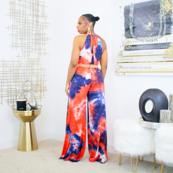 sleeveless tie dye jumpsuit with pockets