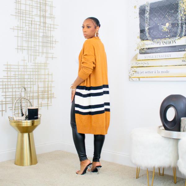 Striped Knit Midi Cardigan