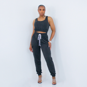Sleeveless Top and Jogger Pants Set (Charcoal)