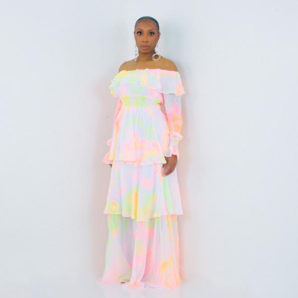 Pastel Tiered Ruffle Maxi Dress