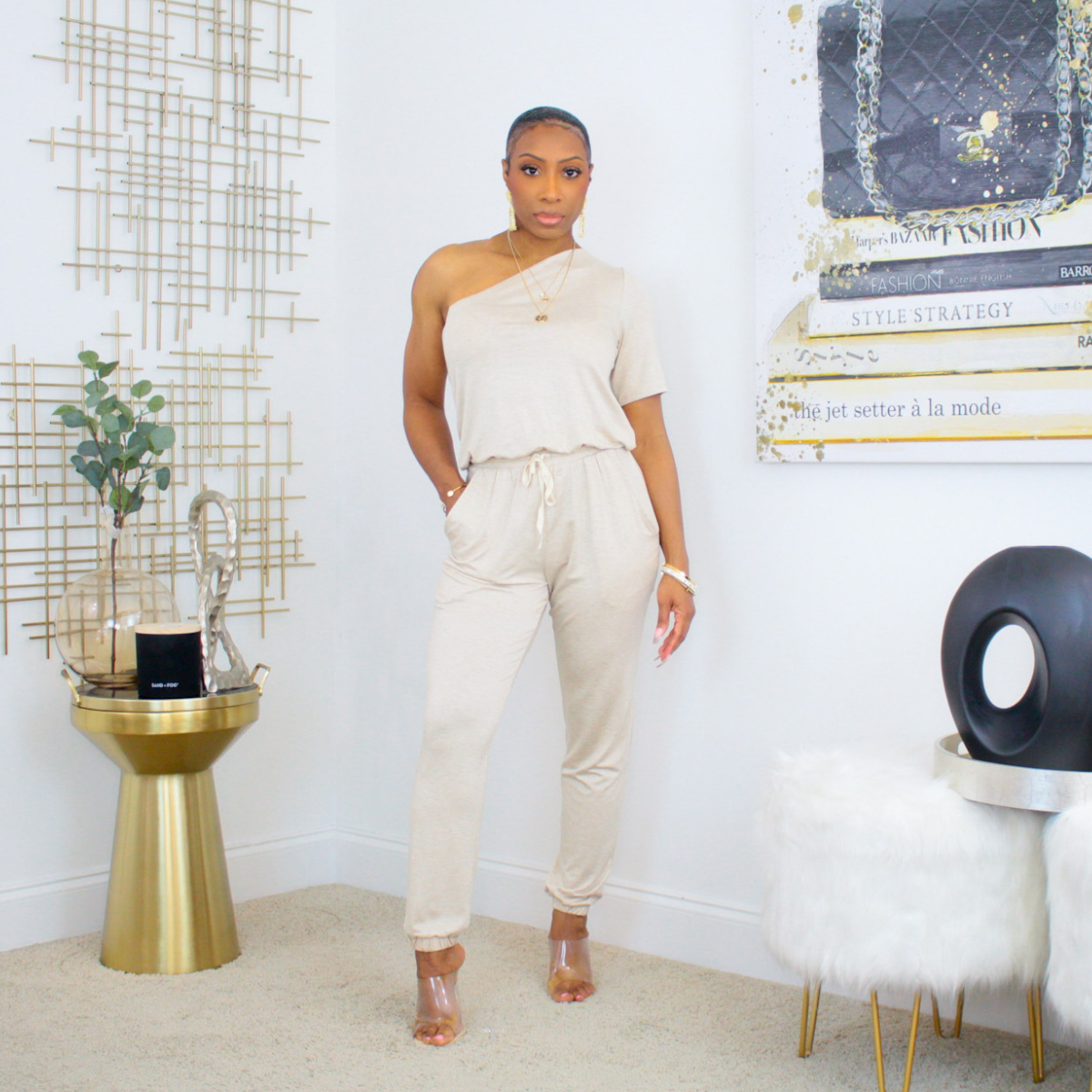 One Shoulder Tie Waist Jumpsuit (Oatmeal)
