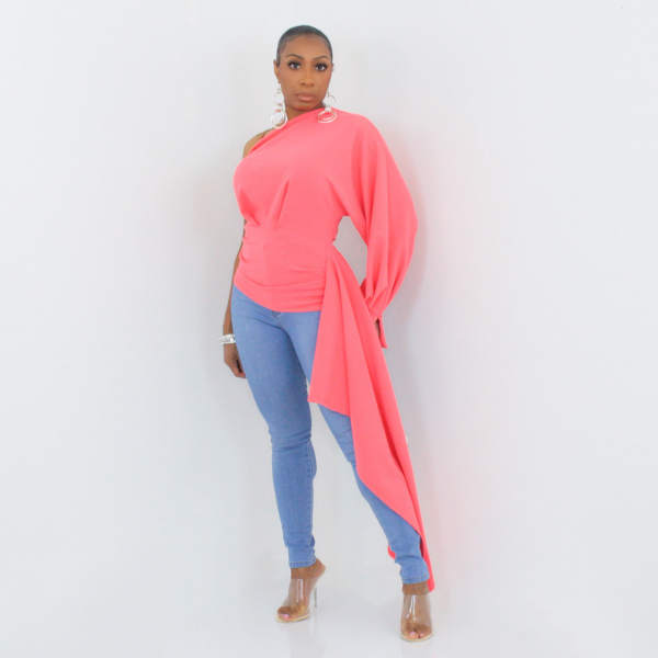 One Shoulder High Low Top (Coral)