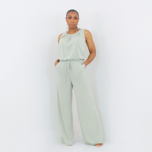 Sleeveless Tie Waist Jumpsuit Light Sage