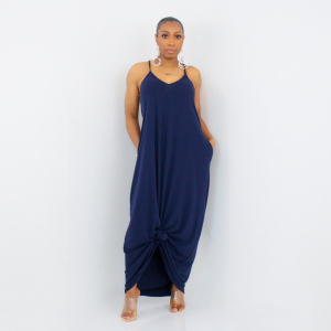 Spaghetti Strap Maxi Dress (Navy)