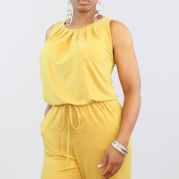 Sleeveless Tie Waist Jumpsuit Light Mustard