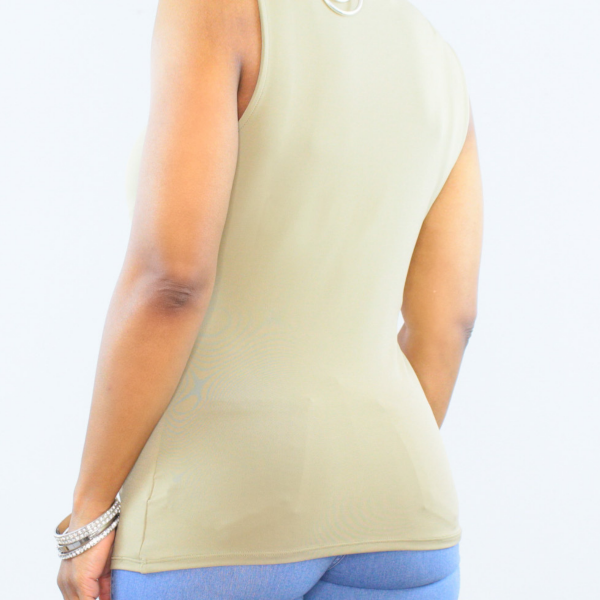 Sleeveless Front Knot Top Light Olive