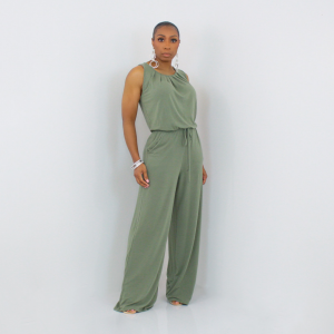 Sleeveless Tie Waist Jumpsuit Light Olive