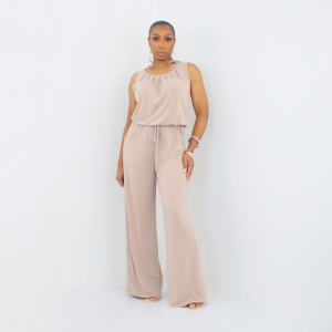 Sleeveless Tie Waist Jumpsuit Light Mocha