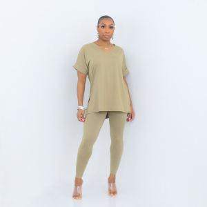 Short Sleeve V-Neck Top and Leggings Set (Khaki)