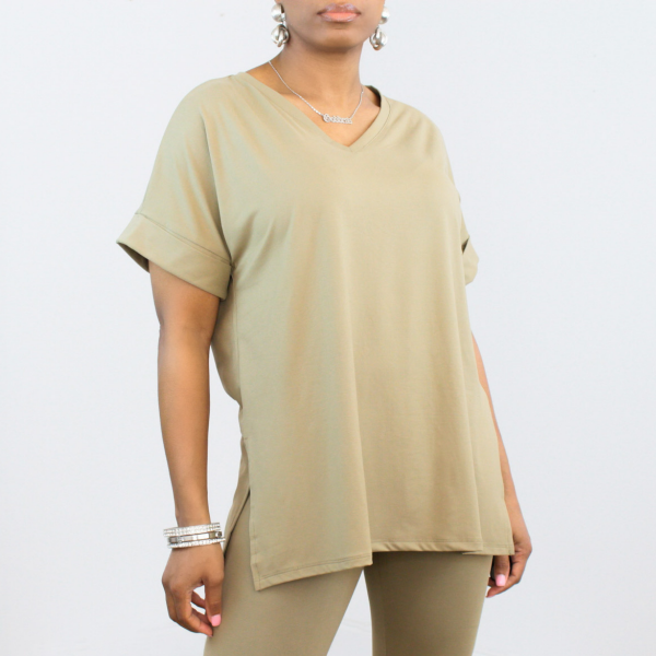 Short Sleeve V-Neck Top and Leggings Set (Khaki)