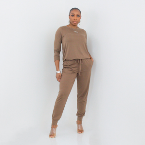 Long Sleeve Top and Joggers Set (Mocha)