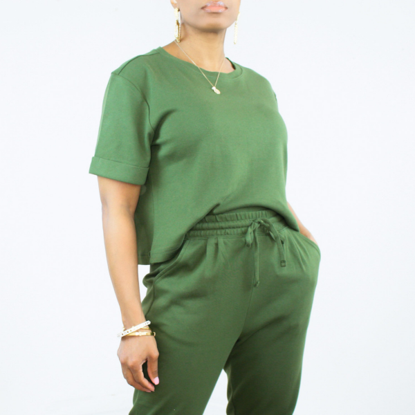 Short Sleeve Top and Ankle Pant Set (Emerald)