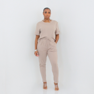 Short Sleeve Top and Ankle Pant Set (Ash Mocha)