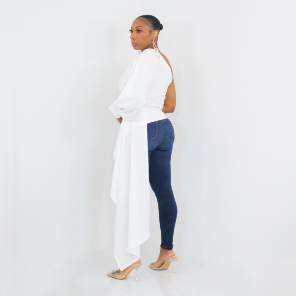 One Shoulder High Low Top (White)