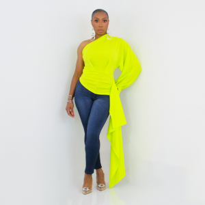 One Shoulder High Low Top (Lime)