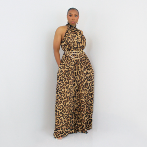 Sleeveless Wide Leg Jumpsuit (Leopard)