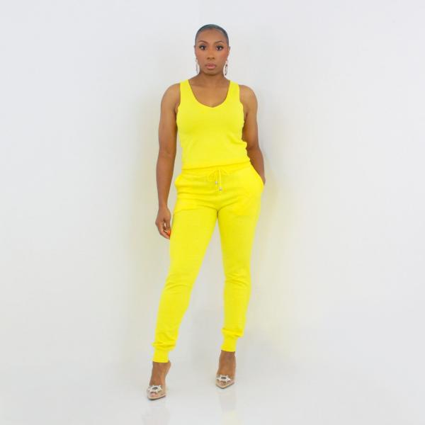3 Piece Cardigan Pant Set (Lemon)