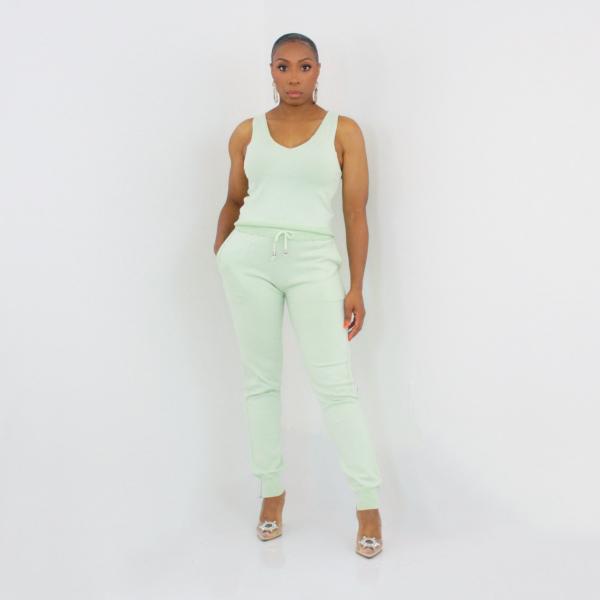 3 Piece Cardigan Pant Set (Mint)