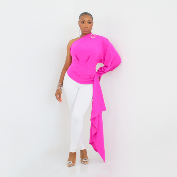 One Shoulder High Low Top (Fuchsia)