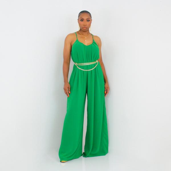 Spaghetti Strap Wide Leg Jumpsuit (Green)