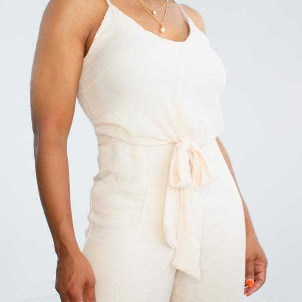Tie Front Sleeveless Jumpsuit (Eggshell)