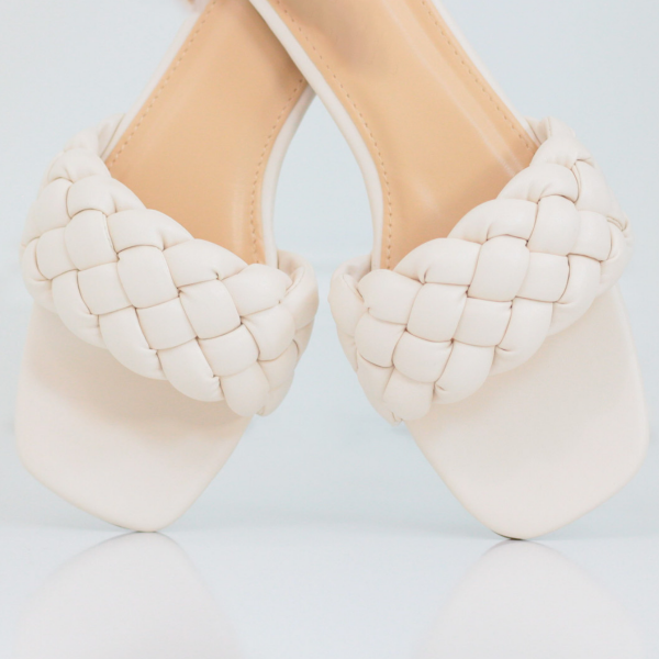 Braided Square Toe Flat Sandal (Eggshell)