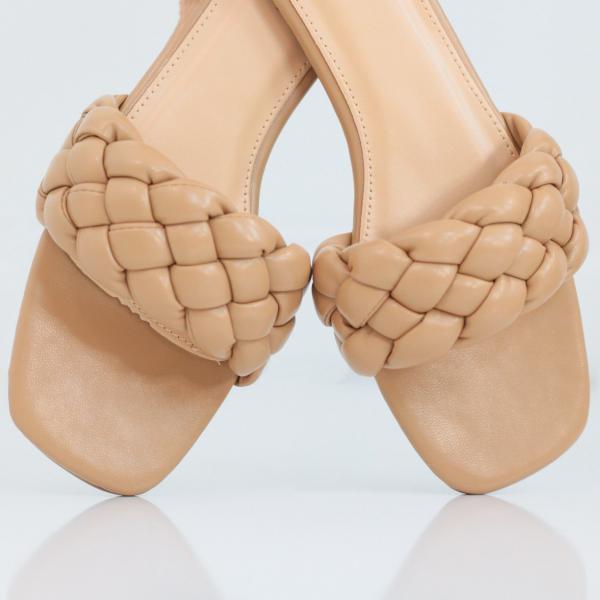Braided Square Toe Flat Sandal (Nude)