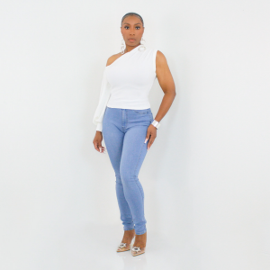 One Shoulder Puff Sleeve Top (White)