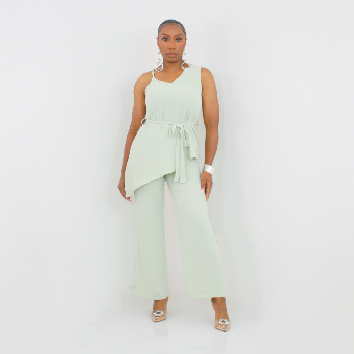 Ankle Dress Pant Set (Sage)