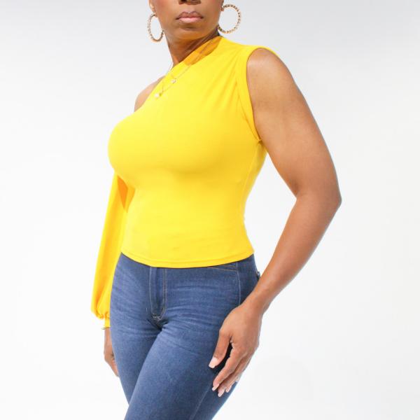 One Shoulder Puff Sleeve Top (Mango)