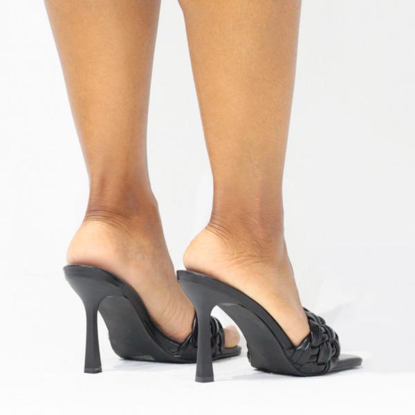 Braided Square Toe Mule (Black)