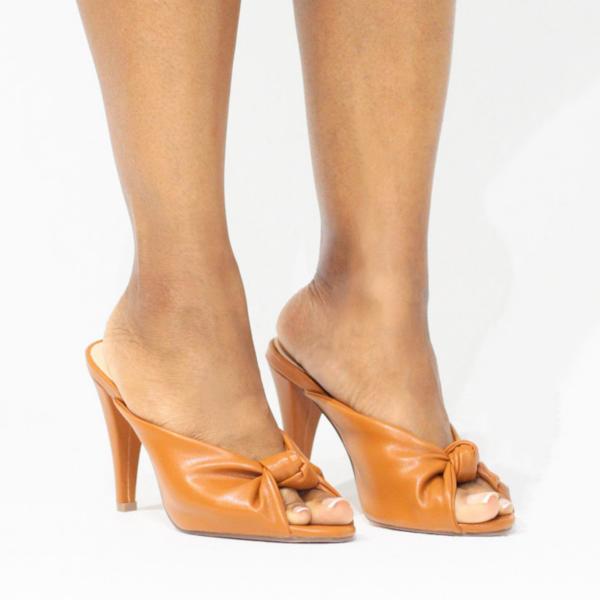 Knotted Peep Toe Mule (Burnt Orange)