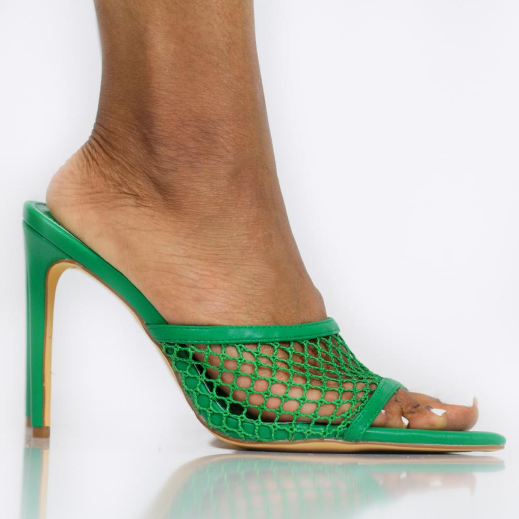 Net Pointed Toe Mule (Green)