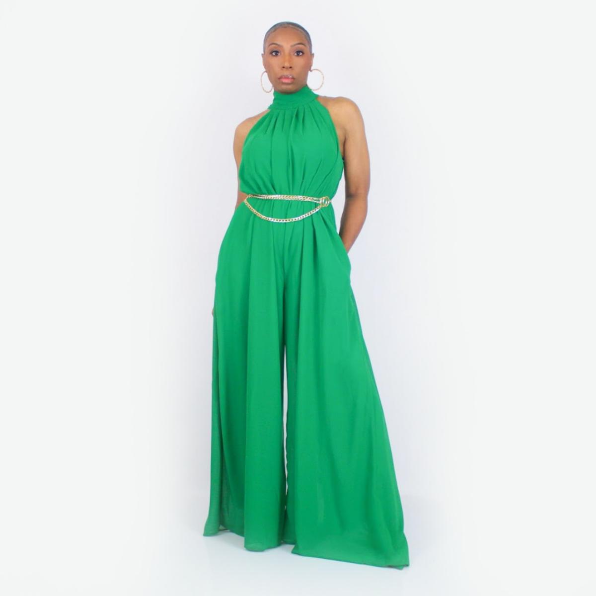 Sleeveless Wide Leg Jumpsuit (Green)